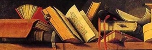A Shelf of Books, from a painting by Barthelemy d'Eyck