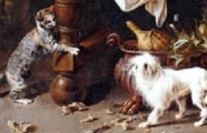A Cat playing with a small dog, a detail from a painting by Adriaen van Utrecht