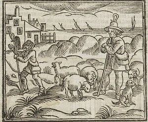 A woodcut depicting shephers with their sheep.