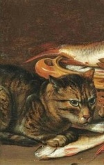 Kitchen Cat with fish, from a Clara Peeters painting.