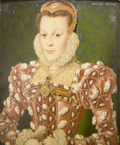 An Elizabethan girl in a pink gown.