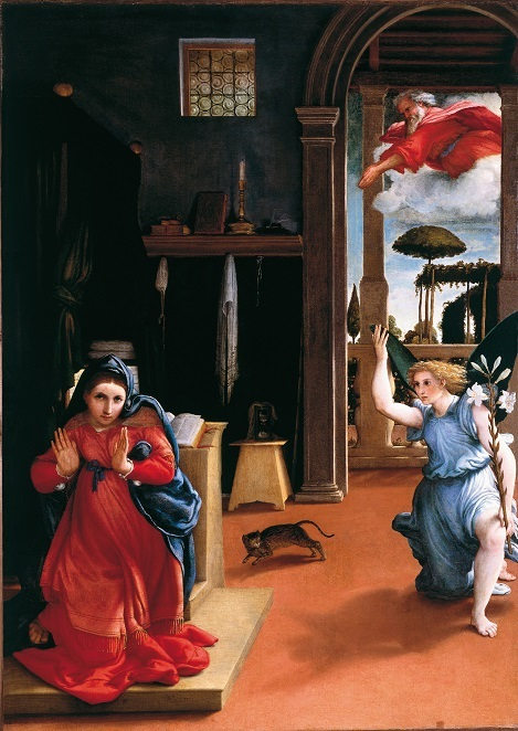 Annunciation, by Lorenzo Lotto (c1480-1556). Mary, the Angel, and a startled cat.