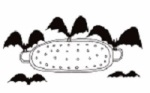 a drawing of Bats carrying off a Colander