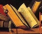 An open book on a shelf - from Barthelemy d'Eyck painting.