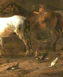 Detail from a painting of the interior of a stable with horses and other animals.