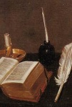 Book and Pen detail from a Painting by Michael Conrad Hirt - Vanitas