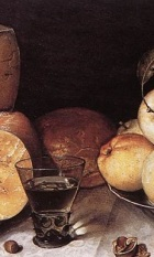 Cheese Bread and Fruit, from a painting by Floris van Dyck.