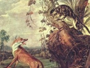 A Fox and a Cat in a tree from a painting by Franz Snyders