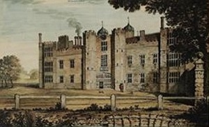 Gib's House, (i.e. Cowdray House) from an 18th century painting by John Keyse Sherwin that shows the two front towers of the gatehouse.