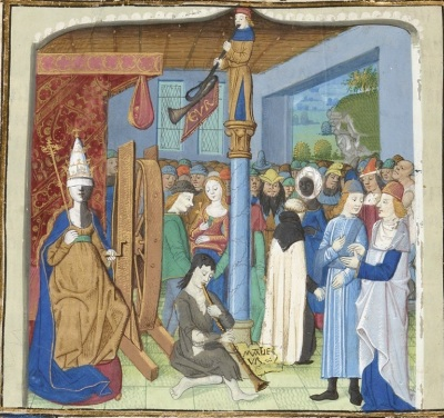 Fortune's Wheel, showing blindfolded Dame Fortune and a diverse group of men and women.