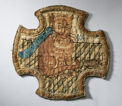 An embroidery of a cat, done by Mary Stuart while in captivity in England.