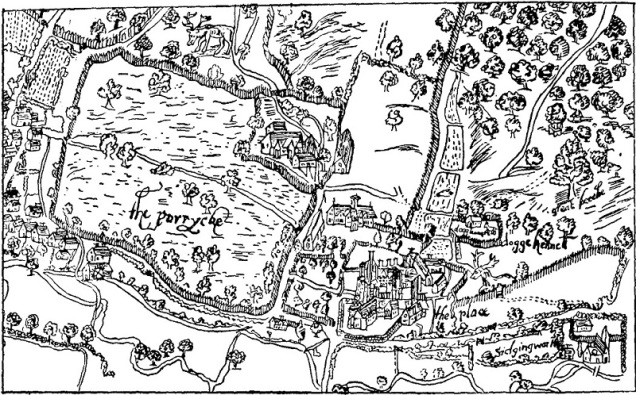 An old map, showing The Place (Place House) and surrounds.