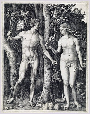 Adam and Eve in the garden of Eden. He's about to eat the apple. The cat at Eve's feet may be about to kill the mouse at his.
