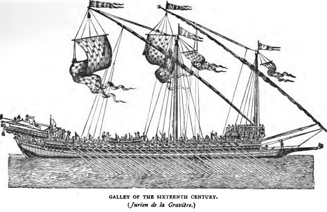 "A galley under oars. This image, and the one below, are from ""The Barbary Corsairs"" by Stanley Lane-Poole, 1890."