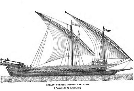 A Galley under sail, running before the wind