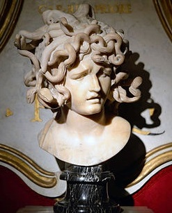 A bust of the Medusa by Bernini, showing her as a living woman rather than a severed head.