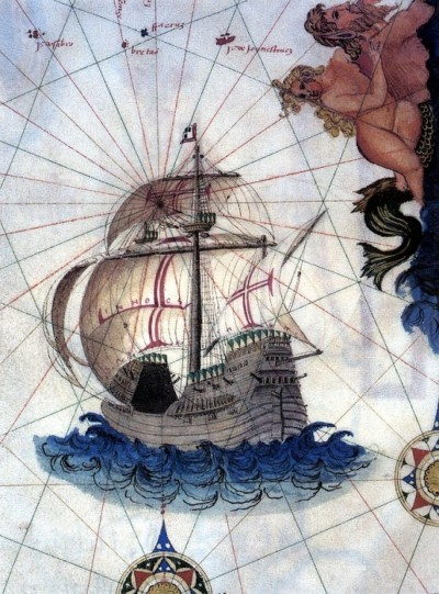 An illustration of a Carrack from a 1565 map.