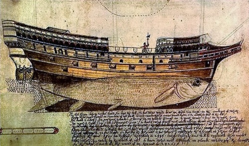 A drawing showing the design of English ships by master shipwright Mathew Baker (1530-1613). The guns are close to the waterline, not mounted on deck, and he's drawn a fish along the hull to emphasise its shape.