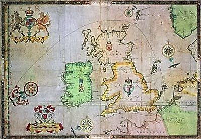 A Map showing the route the Spanish took around the British Isles. (Augustine Ryther)