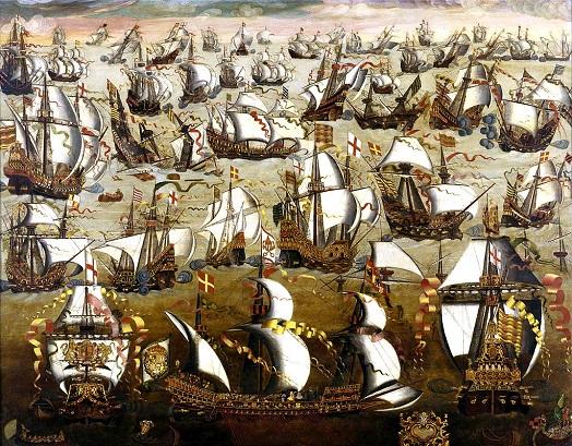 Invincible Armada - English School, 16th century - Licensed under Public Domain via Commons