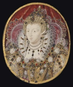 An idealised portrait of Elizabeth, the miniaturist Nicholas Hilliard. At the time of her visit In 1591 she was 56