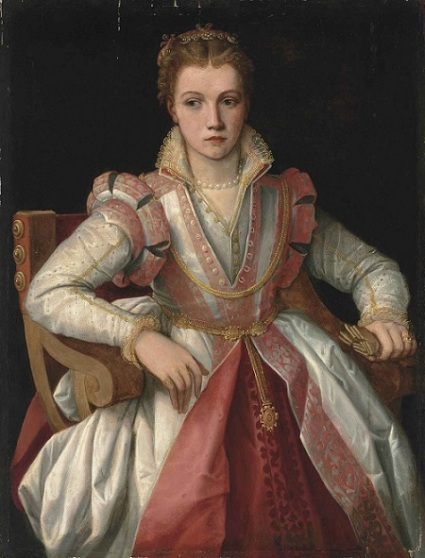 A portrair of a beautiful but sad-faced young woman in a pink and white gown.