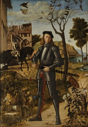 A painting of a Young Knight standing in a stylised landscape among flowers, small animals and birds. By Vittore Carpaccio (c1465-1526)