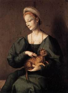 A portrait of a woman in a dark gown holding a spotted cat.