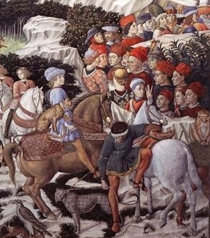 A detail from a painting showing a youth with a cheetah seated behind him on his horse.