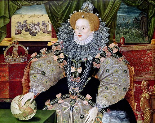 Elizabeth, gorgeously dressed, seated with her hand on a globe, and two panels behind her - one of ships on a calm sea, the other of shipwrecks.
