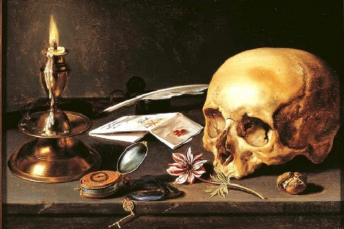 A collection of items on a table which demonstrate the transience of life: a candle, a letter, a quill pen, a pocket watch, a plucked flower, and a human skull.