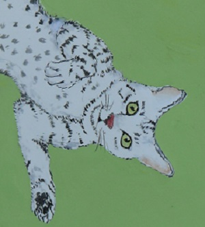 A painting of a dappled blue and white cat lying on its back with its paw on its heart.