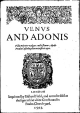The cover of the first edition of Shakespeare's Venus and Adonis, 1593.