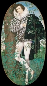 A miniature portrait of a young man dressed in black and white, the colours of Elizabeth I. He is standing among white roses with his hand on his heart.