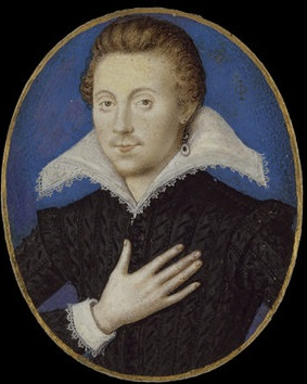 A head and shoulders miniature portrait of a young man in a black doublet with a wide white collar posing with his hand upon his heart.