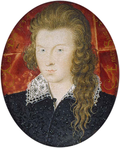Head and shoulders of the young Earl, wearing a black doublet and flat white lace collar.