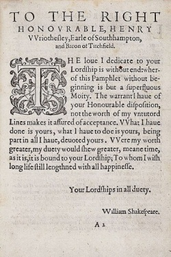 Dedication page of the Rape of Lucrece.