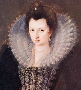 A dark-haired, serious-faced young Elizabethan woman.