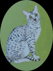 A miniature painting of Gib, who is white with blue-grey dapples, and green eyes - enhanced by the green background of the painting.