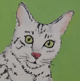 A painted image of Gib's dappled face.
