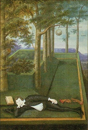 A young man lying full-length on his side, with his head propped on his hand and a book beside him. He is in a formal, stylised garden setting.