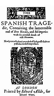 A play book - the cover page of Thomas Kyd's immensely popular tragedy.