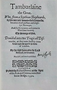 Title page-Tamburlaine- Christopher Marlowe