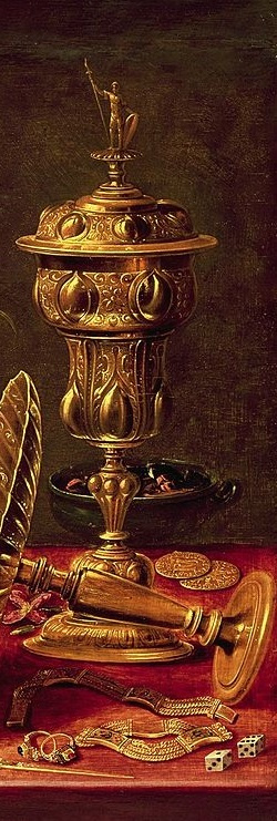 Detail from a painting showing gold tableware with jewellery, coins, and dice.