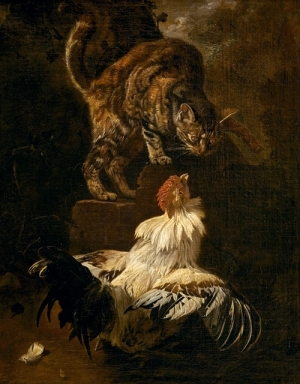 A cat looking at a rooster with great interest.