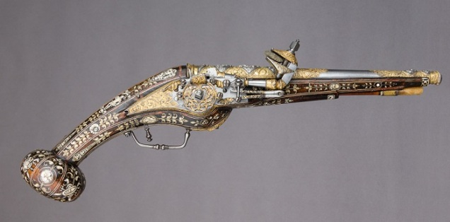 One of a pair of 16th Century wheellock pistols held in the Metropolitan Museum of Art.
