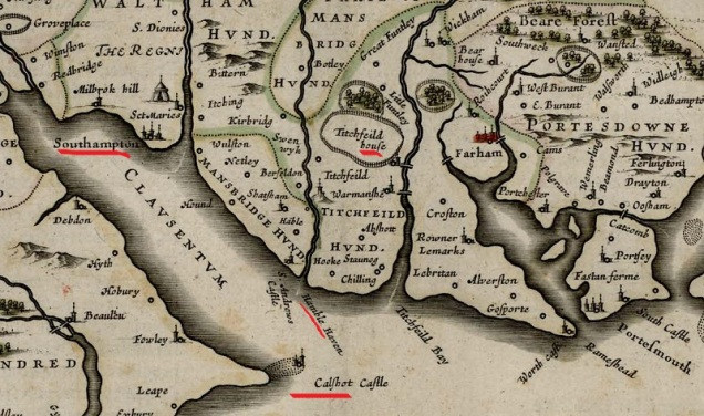 A section of a 17th century map of Hampshire, showing the locations Nero refers to. Marked are Titchfield House (Place House, where Gib lives), Hamble Haven (where Nero claims he went, with St Andrews castle nearby, and Calshot castle across the water.