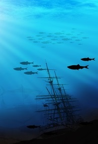A ship underwater with fish swimming past.