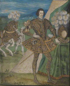 The Earl of Essex (and his horse) dressed for jousting. Attributed to Nicholas Hilliard.