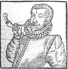 A drawing of a 16th century man smoking a pipe.
